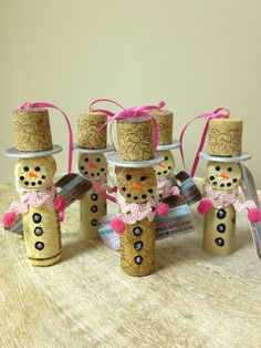 Snow-Women Wine Cork Ornaments (Pink) on Etsy, $20.00 (Set of 5)