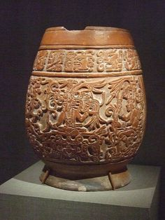 Carved pedestal vase earthenware Maya 9th century CE Mexico | Flickr - Photo Sharing!