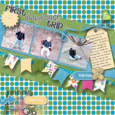 First Playground Trip Kit: The Kid Zone by Carla's Treasures http://www.plaindigitalwrapper.com/shoppe/product.php?productid=13650&cat=&page=1 Template: Sharp Turn by Love It Scrap It  http://www.plaindigitalwrapper.com/shoppe/product.php?productid=11711&cat=&page=1 Fonts: Fineliner Script, Too Much Paper