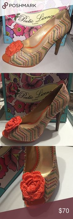 Poetic License Pumps Beautiful and vibrant pumps! They have a colorful print and a bright orange flower. They have never been worn, BRAND NEW IN THE BOX!! 4.5 inch heel with .5 inch platform support. Poetic License  Shoes Heels