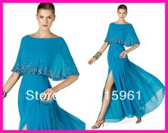 2014 Elegant Blue Beaded Side Slit Long Chiffon Mother of the Bride Evening Dresses With Shawl M1776 $138.00