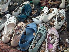 Plastic shoes arranged in Dungeness garden neighbouring Derek Jarman's garden