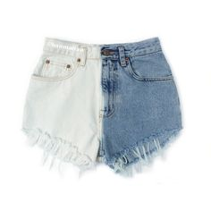 """ALL SIZES """"PLAINO"""" Vintage Levi high-waisted denim shorts blue ombre... (€23) ❤ liked on Polyvore"""