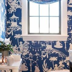 | Chinoiserie style powder room clad in Thibaut South Sea Wallpaper in ...