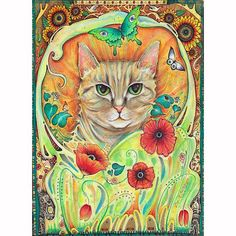 cat art nouveau painting by Liza Paizis, via Flickr