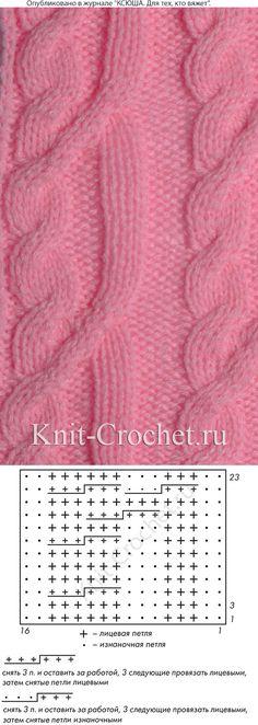 Рельефный узор c частыми переплетениями для вязания спицами со схемой и условными обозначениями.