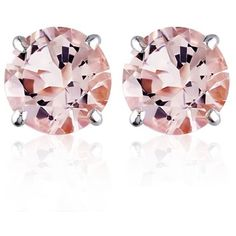Belk  Co. Pink 14K White Gold Morganite Stud Earrings (€205) ❤ liked on Polyvore featuring jewelry, earrings, pink, round stud earrings, pink earrings, 14k stud earrings, white gold jewellery and pink jewelry