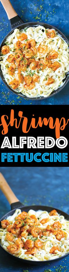 Shrimp Alfredo Fettuccine - Easy peasy weeknight alfredo made completely from scratch, made in 35 min or less! With the creamiest alfredo sauce ever with perfectly flavored, tender shrimp! This is comfort food at its best (and easiest!).