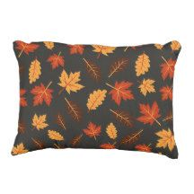 Fall Leaves Accent Pillow #leaves #leaf #fall #falldecor #fallcolors #orange #black #orangeandblack #pillow #throwpillow #decorativepillow #accentpillow #homedecor