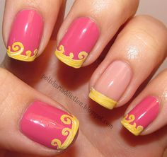 Nice Nail Design Simple Nail Art Designs, Best Nail Art Designs, Love Nails, Fun Nails, Little Mermaid Nails, Manicure E Pedicure, Cool Nail Art, Simple Nails, Simple Disney Nails