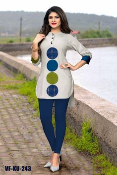 Traditional Kurtis - Shop New Design In Kurti @ Gunj Fashion Grey Color Flax Cotton Patch Work Traditional Kurtis Get this grey color patch work cotton kurti which is perfect for college wear. African Fashion Ankara, Latest African Fashion Dresses, African Print Fashion, Africa Fashion, Short African Dresses, African Blouses, African Shirts, African Traditional Dresses, African Attire