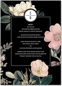 Night Blossoms - Signature White Menu Cards - Baumbirdy - Black : Front