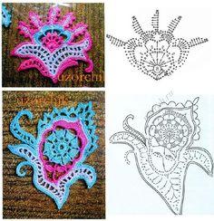 Appliques Au Crochet, Crochet Motifs, Freeform Crochet, Crochet Art, Crochet Diagram, Thread Crochet, Crochet Crafts, Crochet Flowers, Crochet Stitches