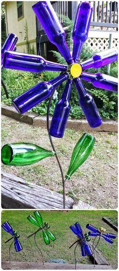 Diy flowers amd dragonfly wine bottle crafts - bells, iron wire, garden crafts