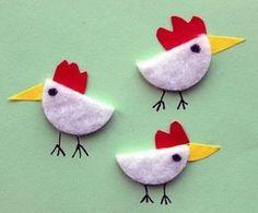 Hühner mit Wattepads basteln