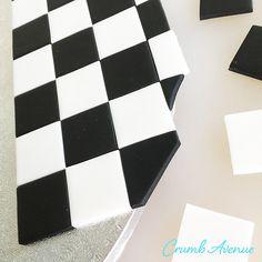 Crumb Avenue - Easy to follow cake topper tutorials | Tutorials | Checkered Cake Board Fondant Cake Tutorial, Cake Topper Tutorial, Fondant Cakes, Cake Toppers, Checkered Cake, Edible Glue, Lollipop Sticks, Cake Board, Cake Decorating Techniques