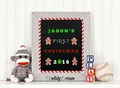 Digital Chalkboard My First Christmas Sign Digital by HolidayDream