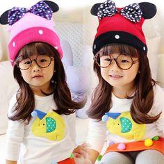 Cap Winter Mickey Ear Shape Korean Bow Knitted Hat Kids Dots Hats For Children