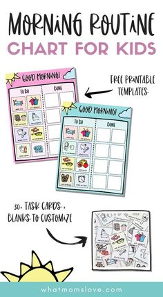 FREE Printable Morning Routine Chart for Kids | Customize this checklist to help your children be independent in their daily morning tasks and chores. Great for kids of all ages - from toddlers to teens. Perfect as a back-to-school or homeschool routine. Printable Puzzles, Free Printables, Morning Routine Chart, Routine Printable, Muscle Memory, Charts For Kids, Task Cards, Kids Morning Checklist, Toddler Activities