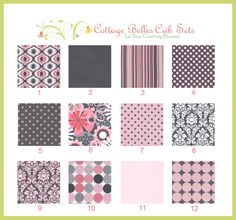 Custom Crib Bedding Set - Pink and Gray -  Design Your Own - You Choose the Fabrics - Handmade by Cottage Belles. $365.00, via Etsy.