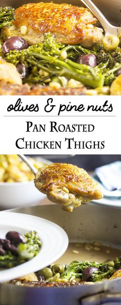 pan roasted chicken thighs with olives and pine nuts pan roasted ...