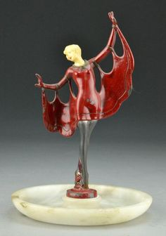 Art Deco Figural Tray - Metal and Onyx