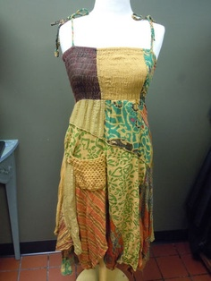 Mustard Patchwork Dress. Peace and Love! $78