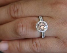 White Gold Morganite Engagement Ring and Diamond Wedding Band Bridal Set in 14k with Morganite Round 8mm and Diamond Halo
