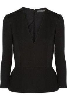 Alexander McQueen Wool and cashmere-blend peplum top | NET-A-PORTER