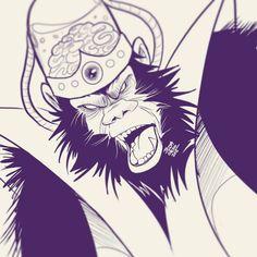 #10 You will obey to me...#inktober #drawlloween #halloween #cartoonnetwork #powerpuffgirls #mojojojo #villian #chimpanzee #evil #thegreysanctuary #jessaotero