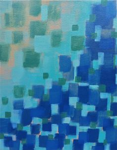 """Original Abstract Modern Art, acrylic on Stretched Canvas, 11""""x14"""", blue, green, turquoise, beige. $85.00, via Etsy."""