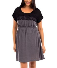 Loving this Black & Charcoal Lace-Yoke Cap-Sleeve Dress - Plus on #zulily! #zulilyfinds