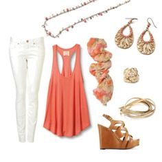 Tangerine - all the jewelry by Premier Designs - love the bangle bracelet, necklace and earrings!