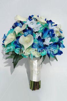 Modern Galaxy Blue Orchid, Calla Lily & Hydrangea Bridal Bouquet...beautiful bridal bouquet