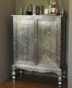 Etched Silver Armoire