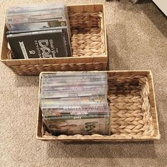 DVDs taking over your entertainment center? Store them in DVD sleeves instead! There are over 100 DVDs in these two little baskets! Bathroom Drawer Organization, Basket Organization, Clutter Organization, Playroom Organization, Organization Ideas, House Cleaning Tips, Cleaning Hacks, Cleaning Products, Cleaning Supplies