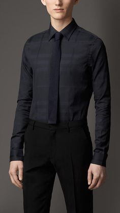 Burberry London Slim Fit Subtle Check Cotton Shirt