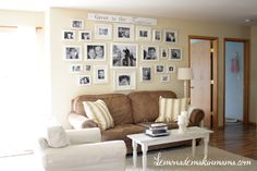"""Love the """"Great is thy faithfulness"""" on the wall with the family photos"""
