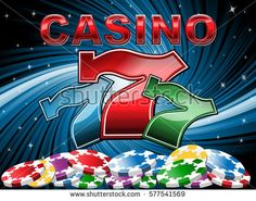 Casino background with poker chips and slot machine symbol