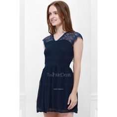 Cape Sleeve V-Neck Backless Lace Splicing Wide Hem Women's Dress (82 HRK) via Polyvore featuring dresses, lace dress, backless dresses, wide dress, blue lace dress i blue dress