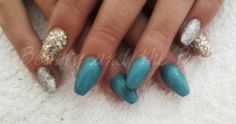 Blue coffin nails with glitter detail