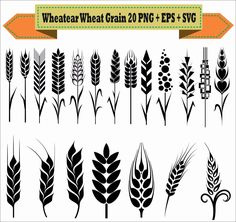 Wheatear Wheat Circle Crops Grain Vintage Motif Pack Silhouette Vector Clipart PNG EPS Digital Files Scrapbook Supplies Instant Download by VectorArtShop on Etsy