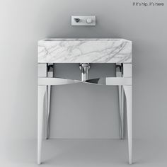 Teuco Accademia Consolle Washbasin in Carerra Marble and chrome finish | http://www.ifitshipitshere.com/teuco-washbasins-mix-marble-modern-metal-beautiful-bathroom-sinks/
