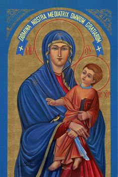 """A copy of the Virgin """"Salus Populi Romani"""": """"Mary Mediatrix of All Graces"""" by the Ukrainian Mystic Josyp Jaromyr Terelya. Distinguished by the Christian symbol """"ichtys"""" at the feet of the Child, and by the bird on a string. Christ Child with a bird (symbol of the soul, the mourner, the resurrection, the Passion, the Holy Spirit, etc.) is a frequent Western motif."""
