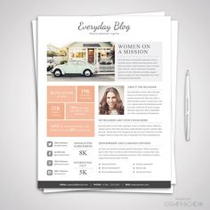 Blog Media Kit Template & Ad Rate Sheet Template for Microsoft Word and Photoshop