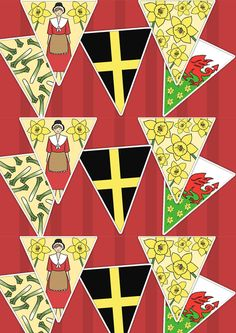 St Davids Day Bunting. Printable