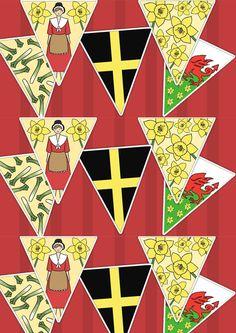 St Davids Day Bunting. Printable