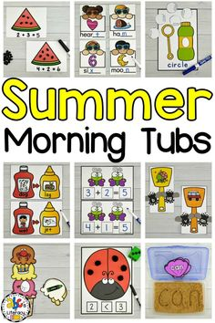 Are you looking for ways to prevent the summer slide? These Summer Morning Tubs are fun, hands-on activities that your children can use to learn and review literacy and math concepts. These June Morning Tubs include 5 literacy and 5 math morning tubs that are perfect for kids in preschool, kindergarten, and 1st grade. Click on the picture to learn more about these morning work activities that can be used for summer school or extra practice at home! #morntingtubs #summermorningtubs #morningwork