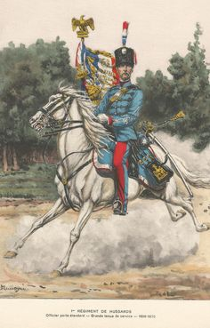 French; 1st Hussars, Officier porte-étendard, Grande Tenue de Service1870 by P.Benigni