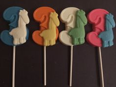 NUMBER THREE GIRAFFE  Chocolate Lollipops  by CandyConfections